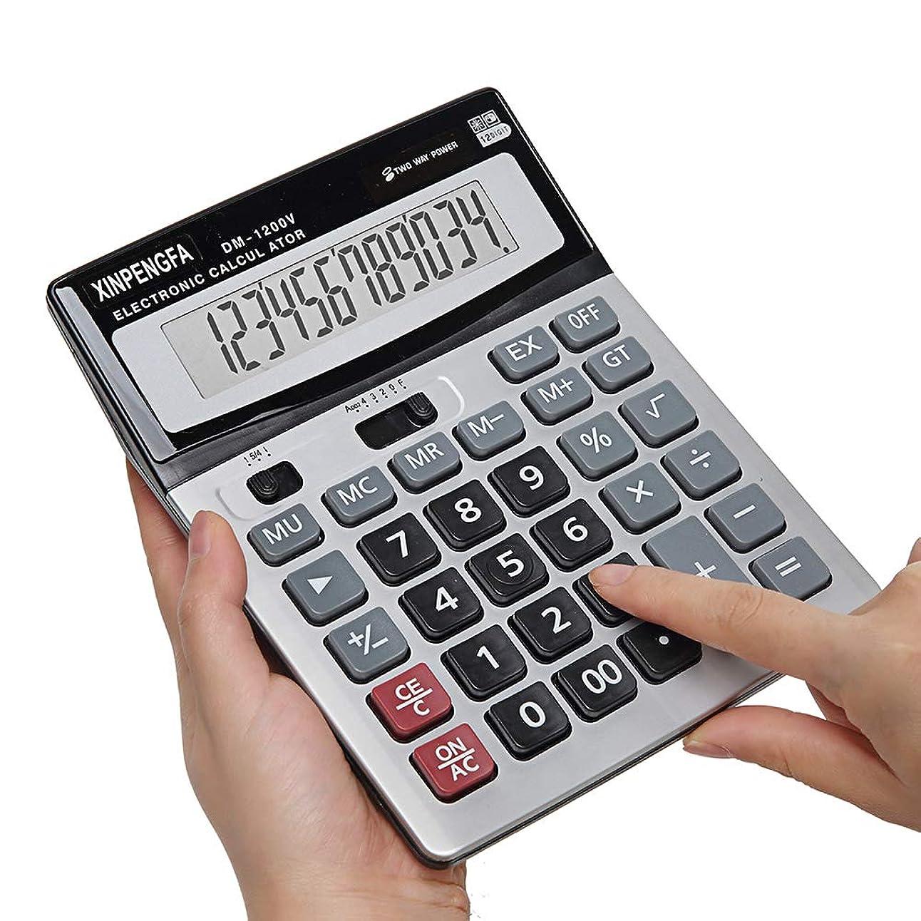 いつか最大限懸念Xinpengfa 基本電卓 ビッグボタン 12桁 大型ディスプレイ 2方向電源標準機能 デスクトップビジネス用電卓