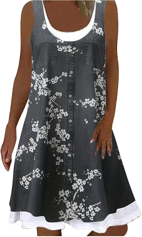 iQKA Women's Knee Length Dress Sleeveless O Neck Graphic Shirt Dresses Summer Casual Loose Shift Dress Vestidos