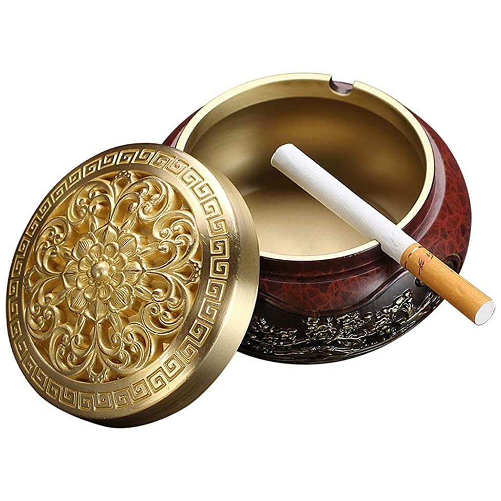 RUIMA Vintage Metal Ashtray with Embossed Flower for Outdoor & Indoor Use