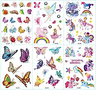 b44bd599c3e28 6 Sheets Cartoon Temporary Tattoos Body Sticker - for Boys Girls Teens and  Adult - Waterproof