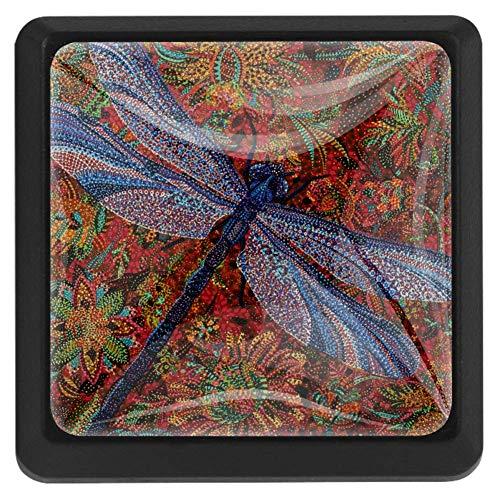 TIKISMILE Dragonfly Crystal Glass Square Drawer Knobs and Pulls Knobs Handles for Kitchen Furniture Door Drawer Cabinet Dresser Closet Wardrobe Cupboard Bathroom,3 Pack