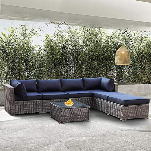 Outside Furniture Gray PE Wicker Navy Blue Cushion 7-Piece Garden Couch Set PE Rattan Sofa Outdoor Sectional Sofa