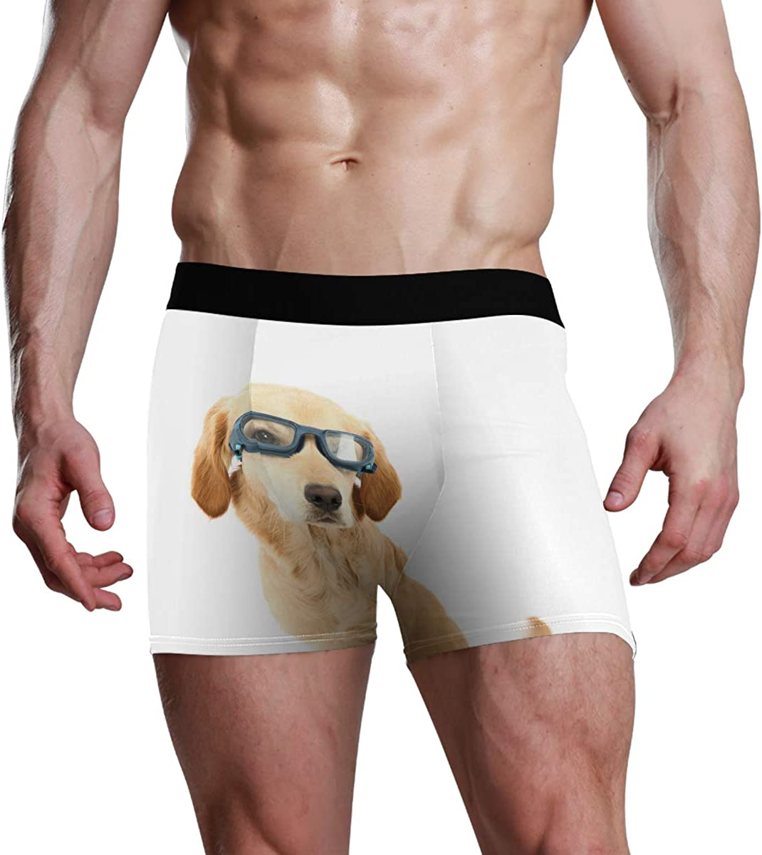 Mens Underwear Briefs Funny Golden Retriever Puppy Dog Wearing Goggles Against Breathable Long Boxer Briefs Underwear Boys