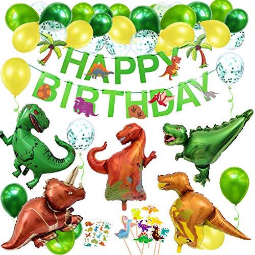 Bluelves Geburtstagsdeko Jungen, Dino Geburtstag Deko, Dinosaurier Kindergeburtstag Deko, Luftballons Grün für Dschungel Party Kinder Dinosaurier Party Dekoration