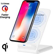 WADEO Fast Wireless Charger,10W Wireless Charging Wave Stand, Qi-Certified Compatible for iPhone XR/Xs Max/XS/X/8/8 Plus,Fast Charging for Samsung Galaxy S10/S9/S9+/S8/S8+ Smart Phones,White