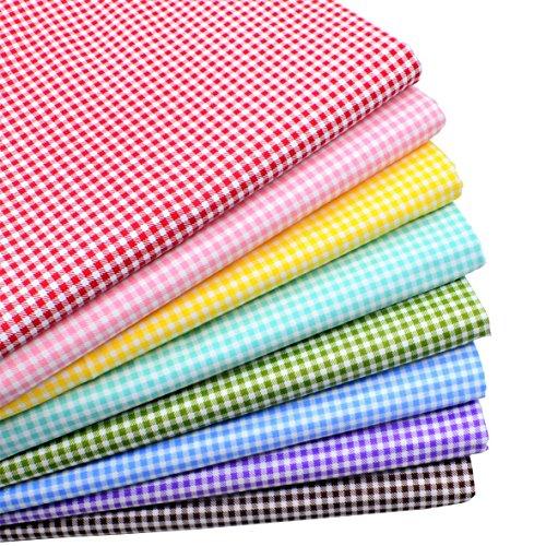 iNee Gingham Fat Quarters Fabric Bundles, Quilting Fabric...