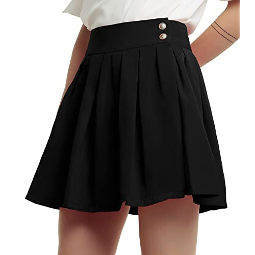 74ca0223d16 chouyatou Women s Double Waist Side Buttons Pleated Skirt