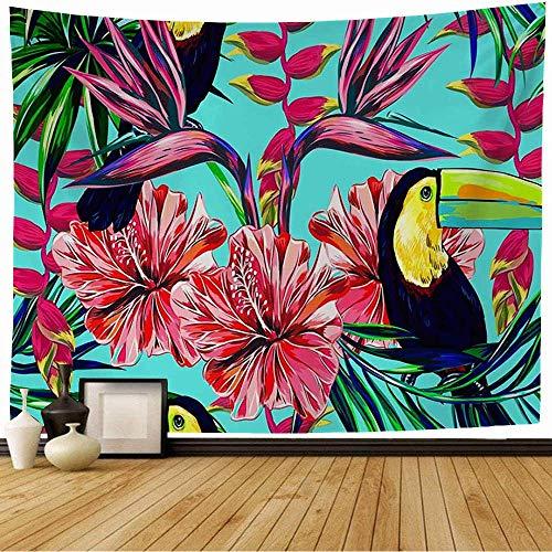 N\A Tapisserie Wandbehang Paradies Tukan Exotische Vögel Rosa Botanisch Tropisch Romantisch Hibiskus Blumen Palme Natur Dschungel Tapisserie Dekor Wohnzimmer Schlafzimmer für Zuhause