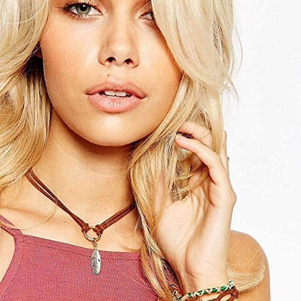 A&C Gothic Tattoos Brown Velvet Choker Pendant Necklace Jewelry for Women. Punk PU Leather Collar Necklace for Girl.