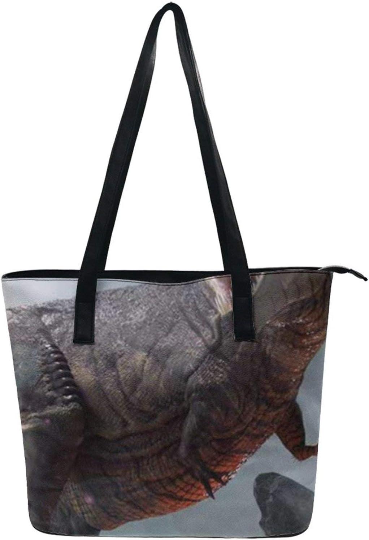 NiYoung Handbag for Women, Fashion Tote Shoulder Bag PU Leather Zipper Handbag Durable Handle Large Capacity Purse Work Travel School Tote Bag (Dinosaur Anime)