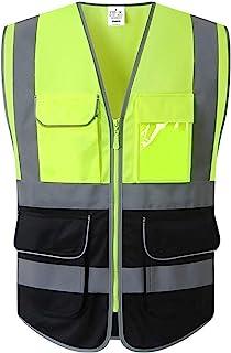 XIAKE 7 Pockets Safety Vest Hi Vis Reflective Vest, Zipper Front, Black Bottom, ANSI/ISEA Standard, Yellow-Black, Medium