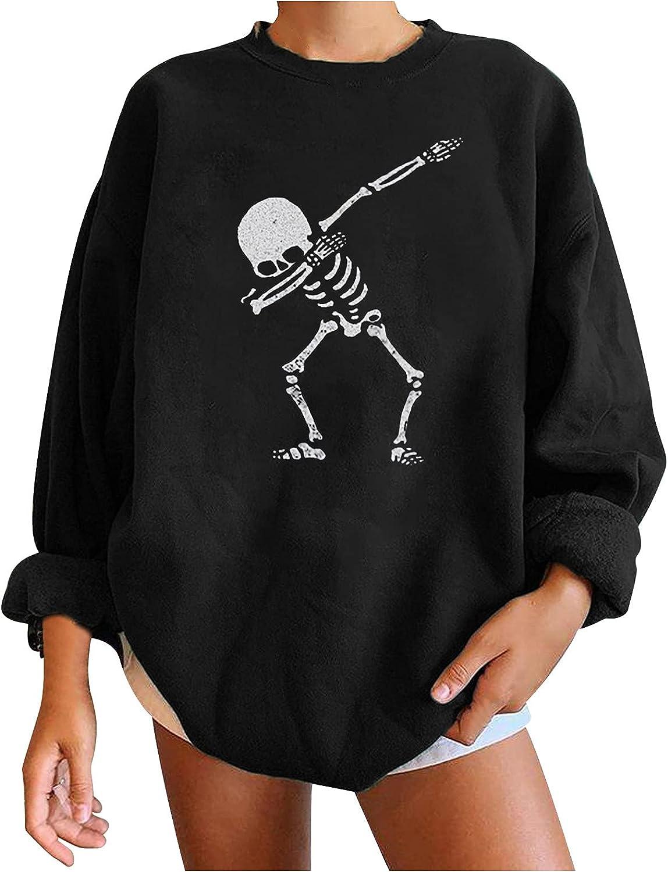 Blouses for Women Fashion Novelty Romantic Print Tees Halloween Crew Neck Casual Tops Long Sleeve Sweatshirts