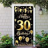 Decoración de Fiesta de 30 Cumpleaños, Extra Grande Póster de Cartel Dorado Negro Materiales de Fiesta de 30 Cumpleaños, 30 Aniversario para Foto Prop Fondo Pancarta de Fondo de