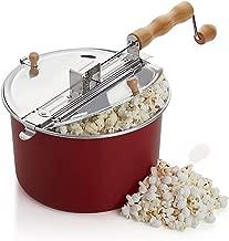 Barton Popcorn Maker Stovetop Pop Popcorn Popper Hand Stirring Crank Cooker Kettle Popcorn Popper Wooden Handle, Red