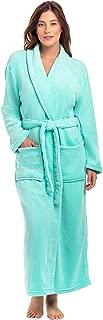 Image of Comfortable 2 Pocket Plush Long Fleece Bath Robe for Women - See More Colors