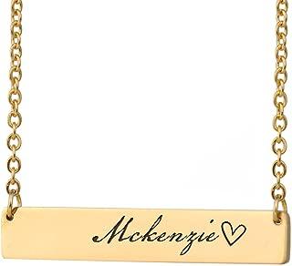 Custom Bar Necklace Name Monogram Initial Name on Choker Personal Jewelry Birthday Valentine Gift