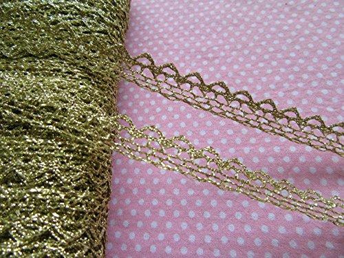YYCRAFT Pack of 20y Metallic Ribbon Lace Edge 1/2' Trim Bridal Wedding Sewing Craft-Gold