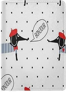zhurunshangmaoGYS Passport Holder French Dog Saying Bonjour Passport Cover Case Wallet Card Storage Organizer for Men Women Kids 5.5 inch