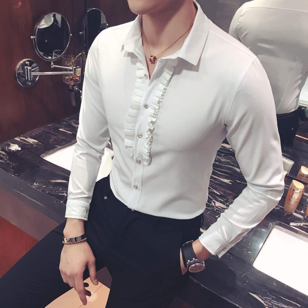 MKDLJY Camisas 2019 Nueva Camisa de Esmoquin Collar de Encaje Único diseñador Vintage Boda Camisa de Manga Larga Slim Fit Camisa gótica Hombres Chemise Homme: Amazon.es: Deportes y aire libre