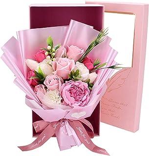 ソープフラワー 花束ギフト バラ カーネーション シャクヤク フラワー 誕生日プレゼント 結婚記念日 女性 人気プレゼント 母の日 先生の日 敬老の日 造花 カード付き ボックス入り ピック