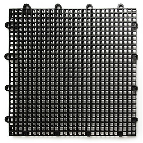 Big Floors DuraGrid ST12BLAK, Black Comfort Tile Interlocking Modular Multi-Use Safety Floor Matting (12 Pack), 12 Piece