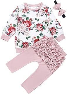 Toddler Kids Baby Girls Outfits Princess Long Sleeve Floral Sweatshirt Tops Ruffled Pants with Headband