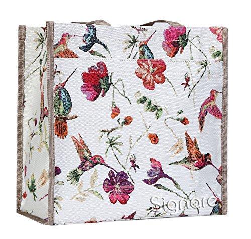 Signare Tapisserie Einkaufstasche, Shopper, Tragetasche, Shopper Damen Groß, Umhängetasche Damen mit Vogel Design (Kolibri)