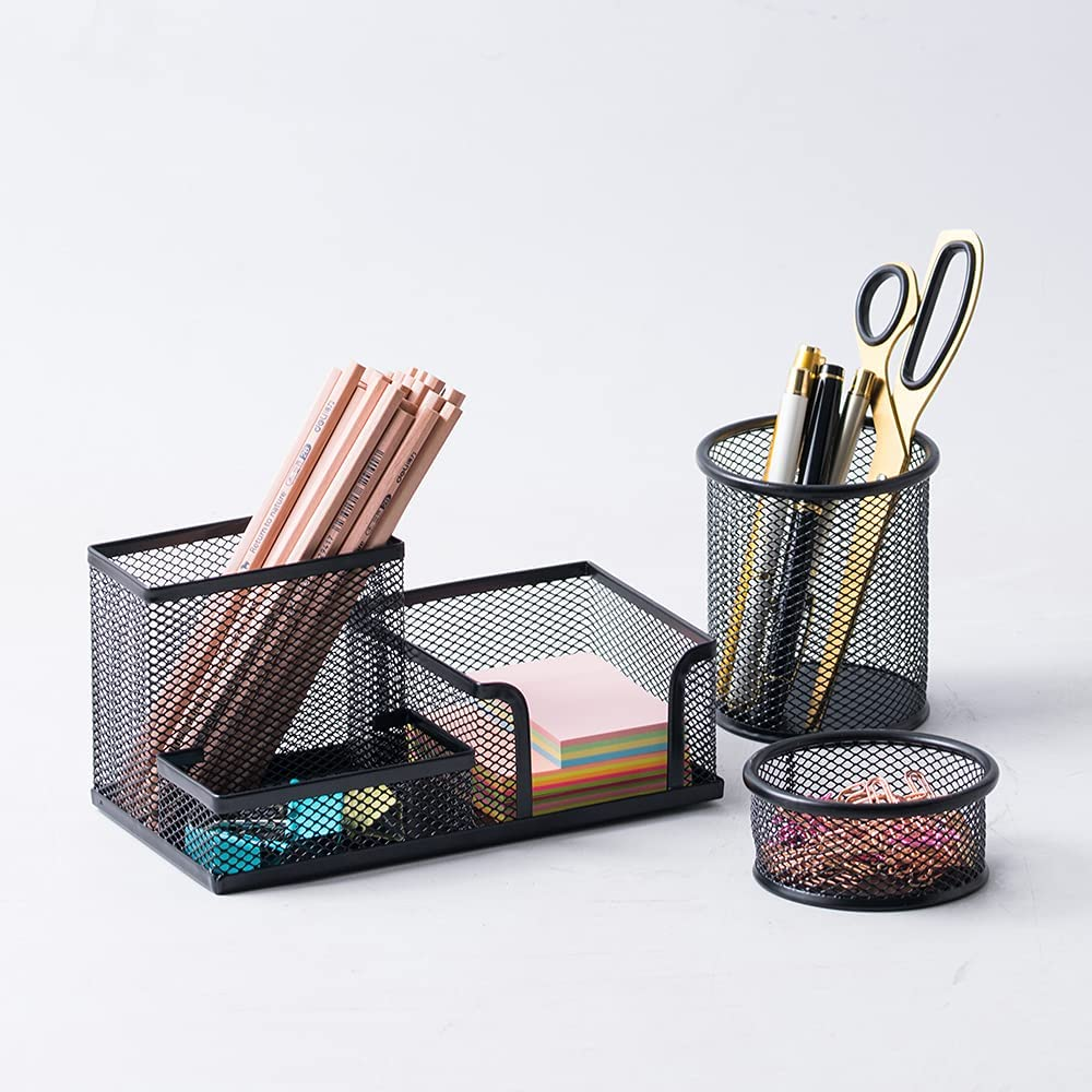 YOSCO Office Supplies Set, Pen Holder for Desk Cute Paper Clip Holder Sticky Note Holder Mesh Metal Accessories & Workspace Organizers for Home, School & Office(Black-3 Pack)