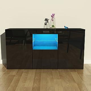 Keinode Aparador de 3 puertas con 8 estantes de alto brillo para armario luces LED diseño moderno mueble para sala de e...