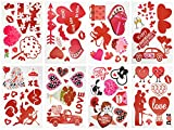 SHYOSUCCE Pegatinas de San Valentín, 79 Pegatinas de Ventanas Reutilizables de PVC Adhesivo Estático, Pegatinas de Corazón para San Valentín, Boda, Compromiso y Aniversario