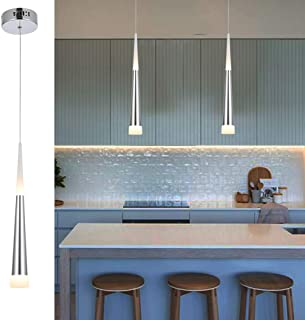 POPILION Modern Simple Silver LED Island Pendant Light,in Aluminum and Arclic Cone Shade with Adjustable Cord, 5W and 2W 3000K Perfect for Kitchen Island Bar Dining Room Living Room,1 Pack