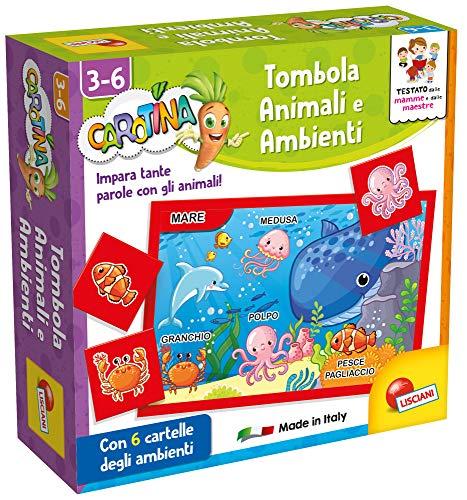 Lisciani Giochi- Carotina Quadrotte Animali e Ambienti Gioco Educativo Prescolari, Multicolore, 87495