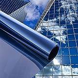 One-Way Window Privacy Protection Film Window Privacy Film Daytime Privacy Glass Film Home Office Daytime Privacy Sunscreen UV Protection Glass Film Removable Window Film Blue/Silver Window Film