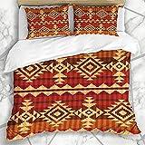 Ropa de cama india bohemia azteca, 3 piezas, algodón, 200 x 200 cm, impresión 3D, funda de edredón infantil de microfibra con cremallera + 80 x 80 cm funda de almohada para niños y niñas