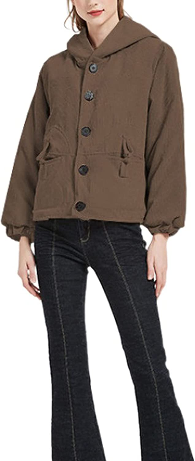 UANEO Womens Corduroy Hooded Thicken Jacket Casual Button Down Winter Coats Outerwear