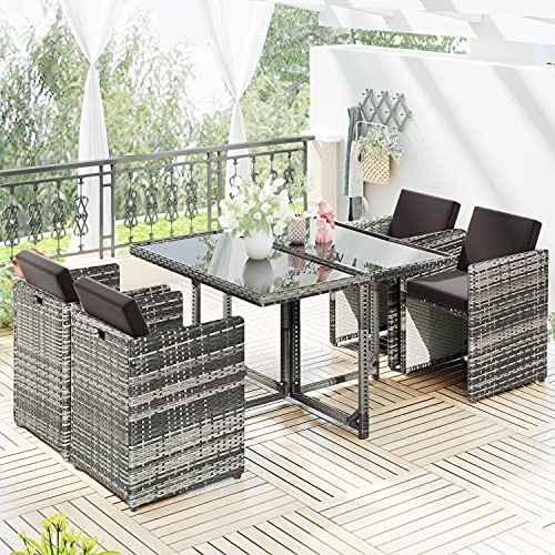 MOWIN 5 Pieces Rattan Garden Furniture Set Outdoor Conservatory Patio Dining Set Dining Table and Chairs Set A Rectangular Glass Top Dining Table 4 Weatherproof Wicker Rattan Chairs