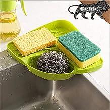 DEVOTION Kitchen Sink Corner Plastic Material Green Color Organizer Wash Basin Sponge Soap Scrub Brush Storage Holder Rack...