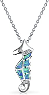 Inserto Blu Creato Opale Spiaggia Nautico Seahorse Collana Pendente Per Donne Argento 925 Con Catena