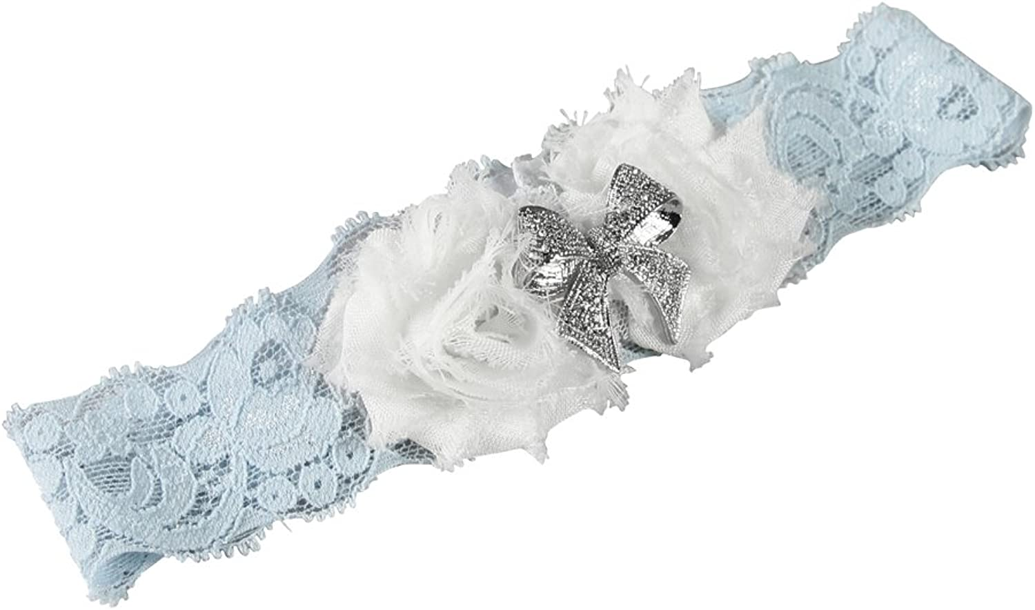 Ivy Lane Design Garter, Small, Anastasia Lace, bluee, White and Silver