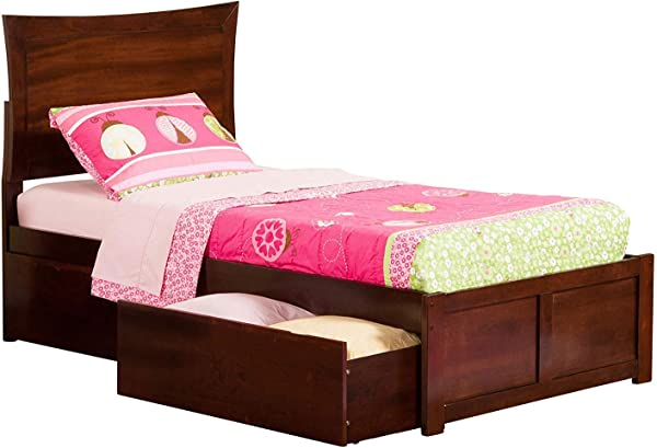 Atlantic Furniture AR9012114 Metro Platform Bed With 2 Urban Bed Drawers Twin XL Walnut