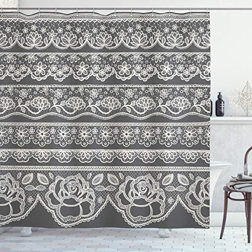 """Ambesonne Grey Shower Curtain, Eastern Lace Pattern with Rose Floret Embellish Nostalgic Bridal Feminine Retro Art, Cloth Fabric Bathroom Decor Set with Hooks, 70"""" Long, Grey White"""