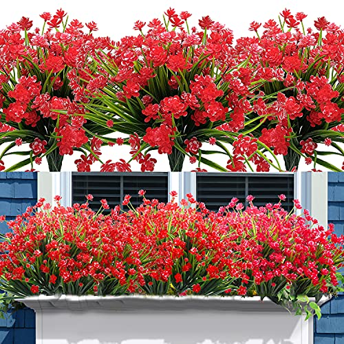 AITISOR 10 Bundles Artificial Flowers Fake Outdoor Plants Faux UV Resistant Flower Indoor Outside Hanging Decorations (10, Red)