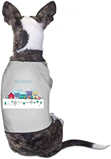 Pet Clothes Christmas Pet Clothes Dog T-Shirts Clothes Merry Christmas Funny Cute Dog Cat Pet Shirts Cotton Shirts Soft and Breathable - (Sky Blue, Gray, Yellow, Black)