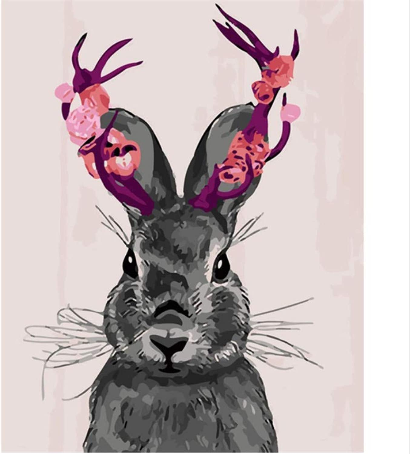 CAYYOU DIY Digital Painting By Numbers Flower Rabbit coloring Wall Art Picture Gift  Framed  50x60cm