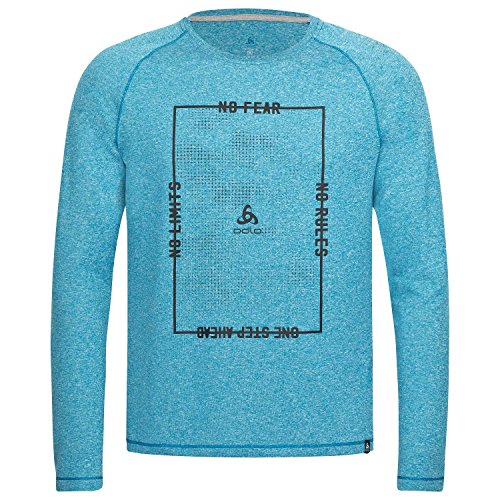 Odlo L/S Aion t-Shirts XXL Mykonos Blue Melange with Train Print FW17