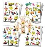 Bob Esponja Party Favors Spongebob Squarepants Tatuajes temporales para niños Bob Esponja Suministros de fiesta de cumpleaños Decoraciones (20 hojas, 280 estilos)