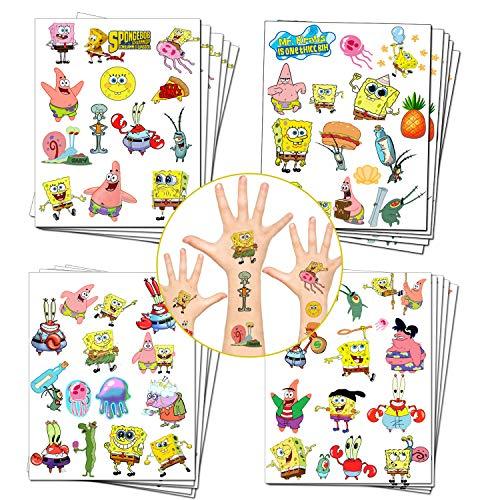 SpongeBob Party bevorzugt SpongeBob Schwammkopf Temporäre Tattoos für Kinder SpongeBob Geburtstagsfeier liefert Dekorationen (20 Blatt, 280 Stile)