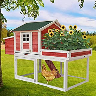 DANGRUUT Large Chicken Coop, Indoor and Outdoor Wooden Rabbit Hutch, Safety Hen House and Bunny Cages for Multiple Rabbits, Waterproof Luxury Hen Duck Coop with Removable Tray and Barbed Wire