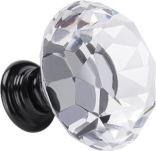Fensing 10 Pcs 30MM Crystal Clear Glass Cabinet Dresser Knobs Diamond Shape Drawer Door Chrome Glass Cabinet Knobs Pull Ha...