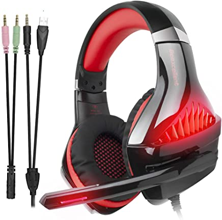 iKiKin Cuffie Gaming per PS4, Beexcellent Cuffie con Microfono Auricolare Gioco Over Ear per Nintendo Switch, PC, Xbox One, Stereo Bass, Luce LED, 3.5mm Jack (Rosso) - Trova i prezzi più bassi